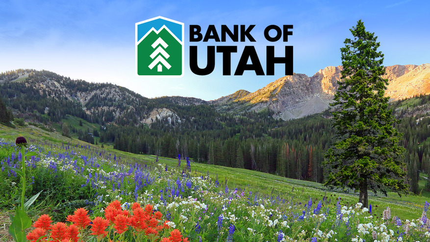 Bank of Utah logo with flower covered mountain scene in the background.